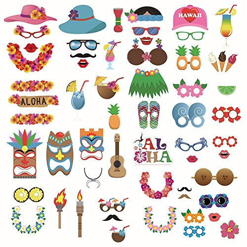 Party Favors for Kids 60 PCS - DIY Dress-up Accessories Kit for Hawaiian Leis/Tropical/Tiki/Festivals Celebrations Beach Pool Birthday Holiday Party Reunions Wedding Decorations Favors -