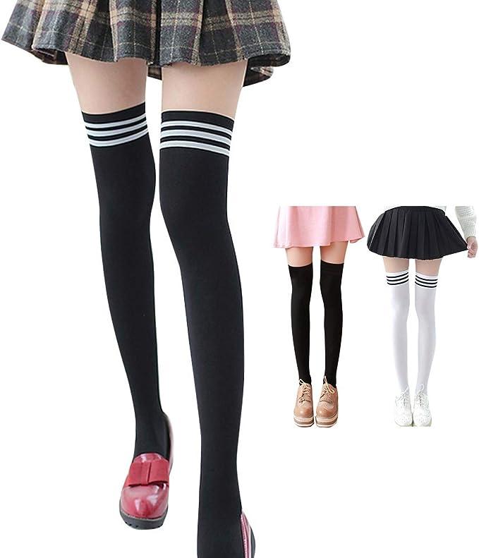 Women Girls Black/&White Tight  Knee High Long Socks Fashion Stockings TO