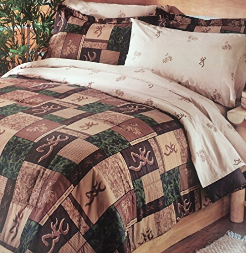 Full Size Browning Buckmark Deer Logo Patchwork Comforter an