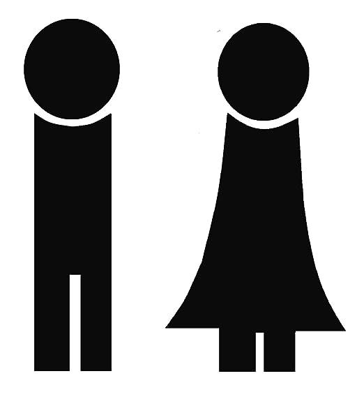 WC Cartel Hombre y Mujer Negro Mate placa para puerta baño ...