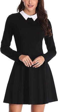 Chyedas Robe D Halloween A Manches Longues Col Claudine Femme Couleur Noir Taille X Small Amazon Fr Vetements Et Accessoires