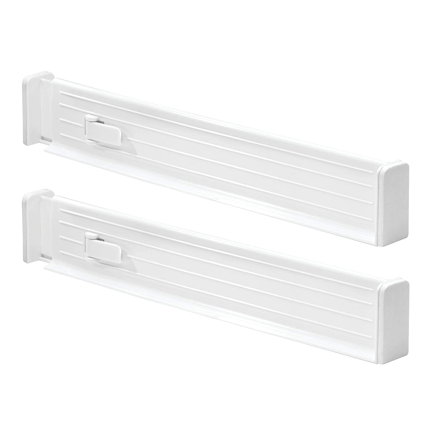 """mDesign Adjustable, Expandable Deep Drawer Organizer/Divider - Foam Ends, Strong Secure Hold, Locks in Place - for Kitchen Towel Storage, Utensils, Junk Drawers - 2.5"""" High, 2 Pack - White"""