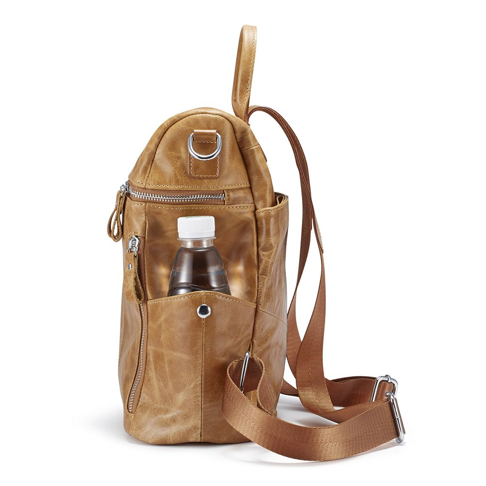 Lecxci Women Large Multi-pocket Lightweight Genuine Leather Backpack Shoulder Bag Ladies Fashion Schoolbag Travel Bag Casual Daypack(Wax Leather,Brown) by Lecxci (Image #6)