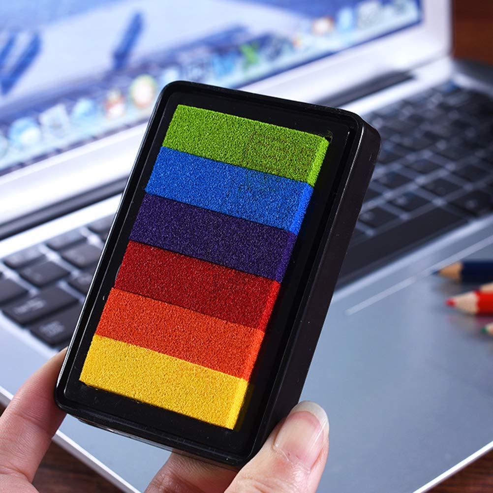 carta Toyvian 5pcs Timbri tamponi Ink Partner Colorati Rainbow Ink Pads fai da te per francobolli tessuto di legno