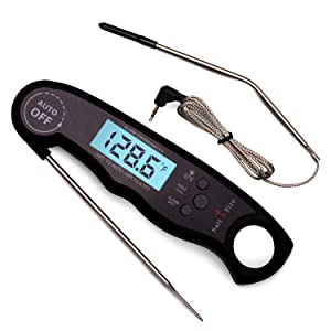 Digital Instant Read Meat Thermometer for Grill and Cooking - 2 in 1 Accurate BBQ Temperature Probe with Alarm Function and Backlit LCD Screen - Includes A Wired Oven Safe Meat Thermometer Probe