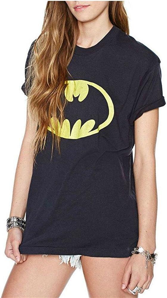 FuweiEncore Maglietta da Donna Nera Stampata Batman T-Shirt Maniche Corte Girocollo Cotone Personalizzata