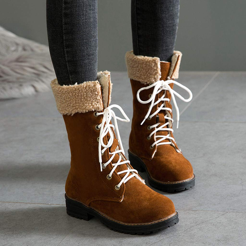 Kiminana ❀ Fashion Women Solid Color Square Heel Lace-Up Suede Boots Snow Boots Round Toe Shoes