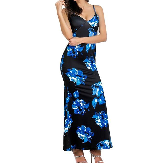 Mujer Boho Vestido, Moda Floral Bohemio Maxi Vestidos Largos Sexy Cuello en V sin Mangas Vestido Ropa para Playa Fiesta Cóctel: Amazon.es: Ropa y accesorios