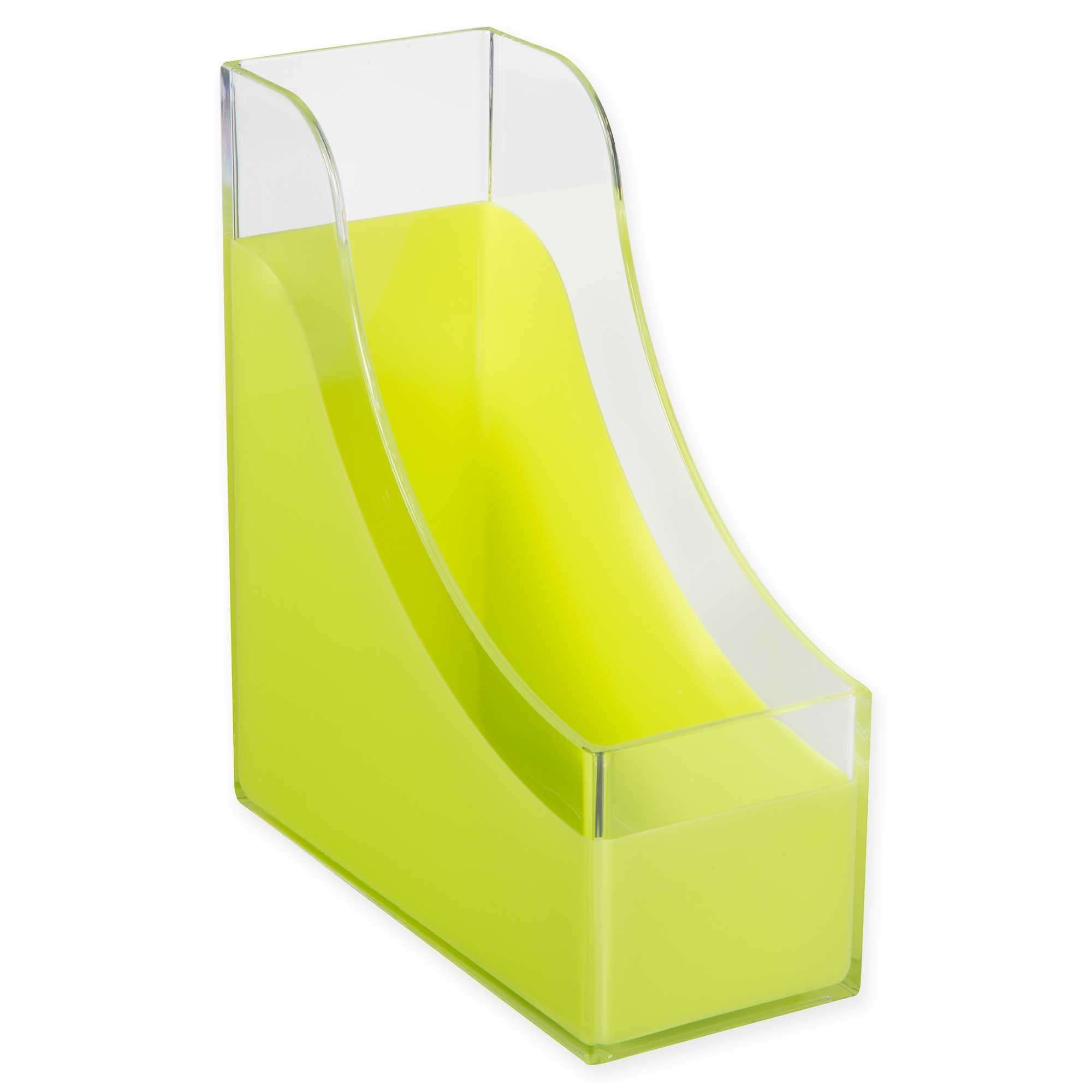 HomeCrate Modern Desk Organizer Magazine File Holder - Clear/Lime