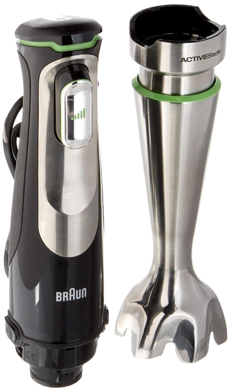 Braun Minipimer 9 MQ9037x Sauce - Batidora de mano eléctrica, tecnología active blade, campana anti-salpicaduras, picadora de 0.5 ly varillas, 1000 w, ...