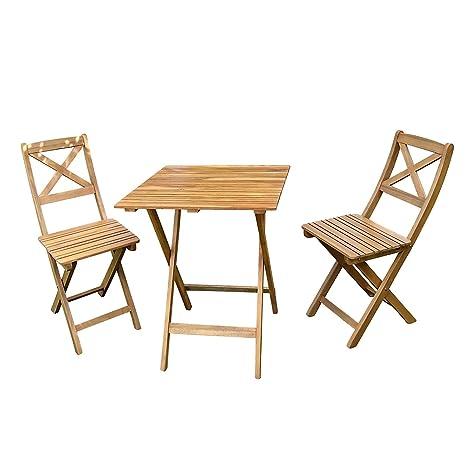 MSA Sam 3 tlg. Juego de Muebles de jardín Xenia Compuesto por 1 Mesa y 2 sillas, Plegable, Madera de Acacia Maciza y barnizada, certificación FSC 100%