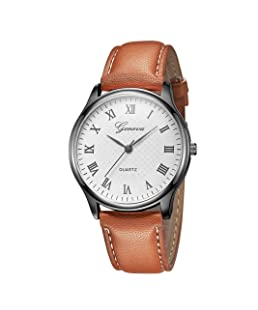 Festiday Women Quartz Watches Geneva Fashion Jewelry Leather Band Watches Analog Pointer Stainless Steel Case Wrist Watches Lady Waterproof Watches Sale Clearance Casual Creative Design Gift (Brown)