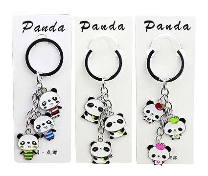 3 piezas lindo llavero de dibujos animados Panda llavero ...