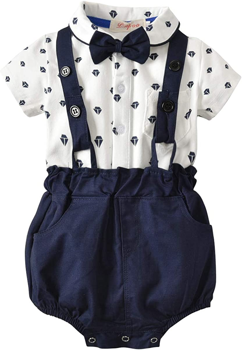 Turuste Infant Baby Boys Short Sleeve Shirt with Bow Tie Strappy Shorts Wedding Christening Suit Summer Outfit