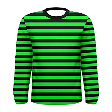 fbf3a2ada3 Black and Green Striped Long Sleeve Men's Tee | Amazon.com