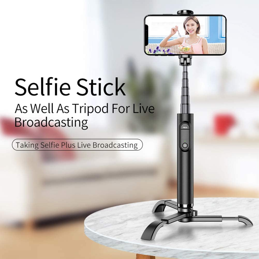 SHENXIAOMING Selfie Stick,Extendable Bluetooth Phone Tripod Selfie Stick with Wireless Remote Compatible with iPhone X//8//8P//7//7P//6s//6 White ,Black Huawei and More Sumsung Galaxy S9//S8//S7//Note 9//8