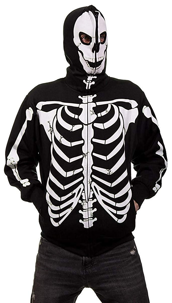 Calhoun Men's Glow in The Dark Skeleton Costume Zip Hoodie