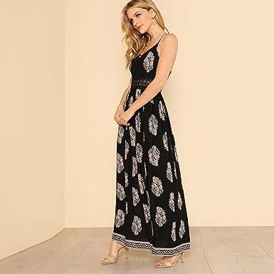 Vestido Para Mujer, BBestseller mujeres pluma larga Boho Hollow vestido dama Playa verano sundrss Maxi Dress Tirantes V-Cuello Falda: Amazon.es: Ropa y ...