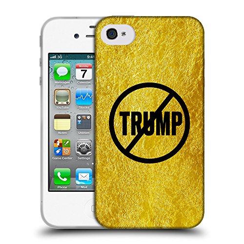 Super Galaxy Coque de Protection TPU Silicone Case pour // Q04110558 Jamais Trump or froissé // Apple iPhone 4 4S 4G