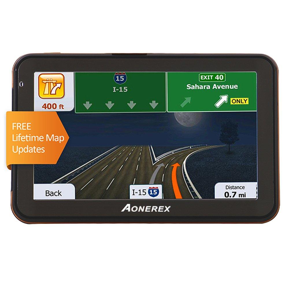AONEREX GPS Navigation for Car 5-inch HD Display & Built-in 8GB-128MB, GPS Navigator System, Voice Steering Navigation Lifetime Free Map Updates