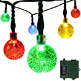 [Rechargeable Battery Included] easyDecor Globe Battery Operated String Lights 30 LED Automatic Timer 8 Mode Crystal Ball Christmas Lights for Xmas Garden Outdoor Holiday Decoration (Multicolored)