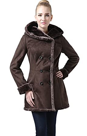 Womens shearling coat brown