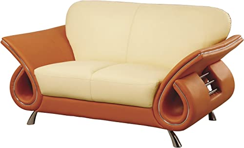 Global Furniture Clark Collection Leather Matching Love Seat, Beige and Orange