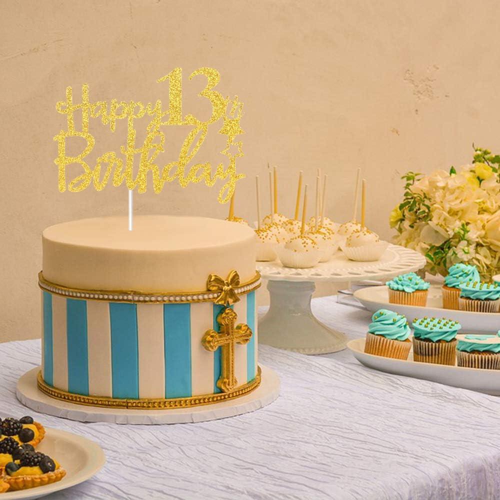 decorazione per feste di compleanno per bambini Tenhaisi Gilttery Gold Happy 13 Birthday Cake Topper