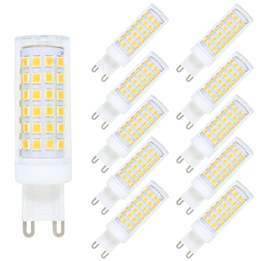 10 Paquete G9 LED Bombilla Dimmable LED Bulb 76 SMD 2835LEDs 9W Lámpara LED Blanco Cálido