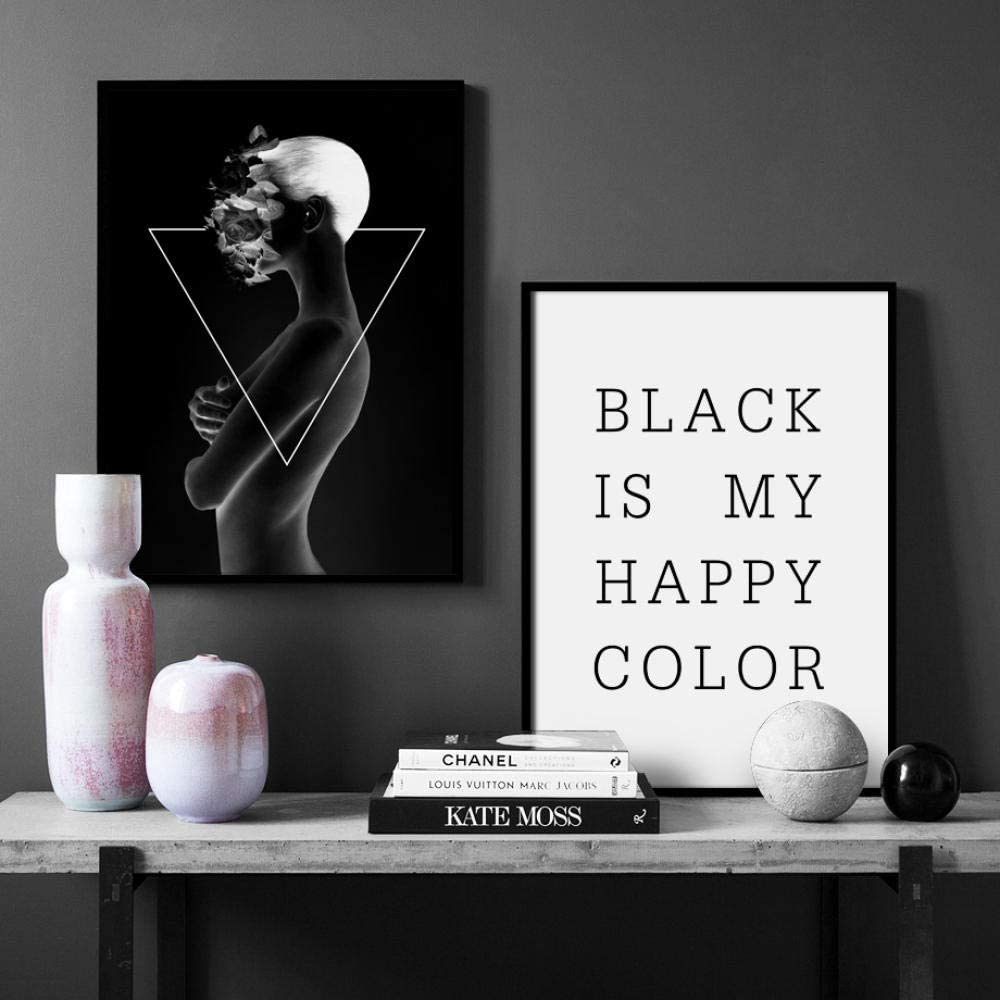 Black And White Abstract Body Art Quotes Nordic Posters And Prints Wall Art Canvas Art Painting Wall Pictures For Living Room Decor 50x70cmx2 Amazon Co Uk Kitchen Home