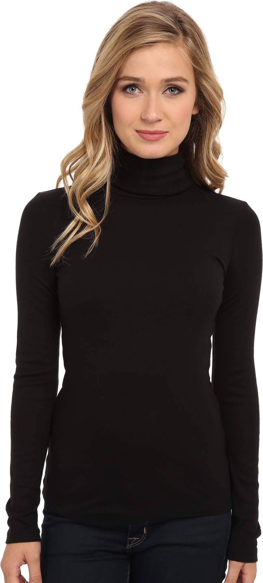 Splendid Women's 1X1 Long Sleeve Turtleneck Top,Black,Medium by Splendid