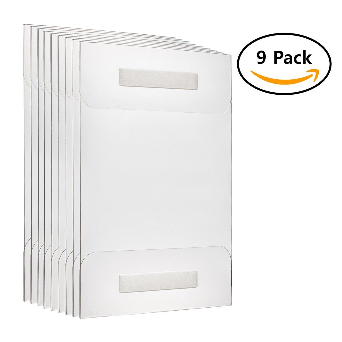 Fortunovo Acrylic sign holder 8.5 x 11 | Wall mount | 9pcs Pack | Clear, putty, adhesive, easy hang frame | For file, engraver, document, brochure, sheet, folder, clipboard, whiteboard, folder |