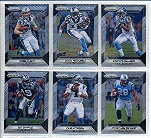 2016 Panini Prizm Football Carolina Panthers Team Set of 6 Cards: Cam Newton(#51), Jonathan Stewart(#61), Devin Funchess(#71), Kelvin Benjamin(#81), Ted Ginn Jr.(#91), Greg Olsen(#101)