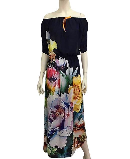 COCO clothing Vestido Maxi les Mujer Hombro Frío Manga Quinta Partido Dress Off Shoulder Sueltos Floral