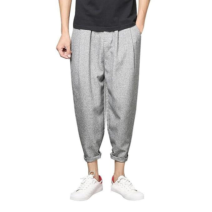 KOLY Uomo Pantaloni Sportivi Slim Casuali Pantaloni Neri