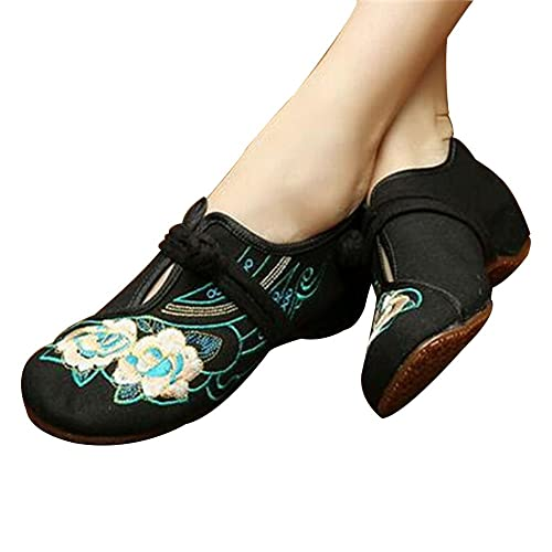 ea27e0796cec Image Unavailable. Image not available for. Color  Chinese Embroidered  Floral Shoes Women Ballerina Mary Jane ...