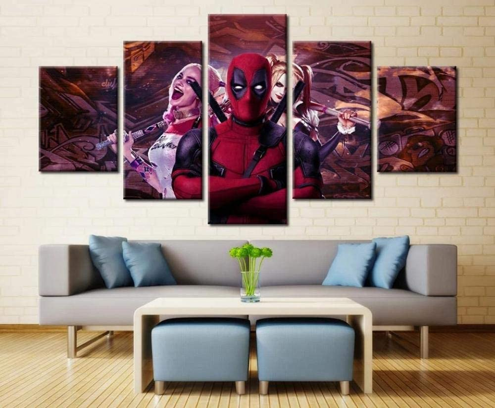KOPASD Piy Painting 5 Piezas Cuadro sobre Lienzo Imagen Deadpool con La Película De Harley Quinn Impresión Pinturas Murales Decor Dibujo con Marco Fotografía para Oficina Aniversario200X100Cm