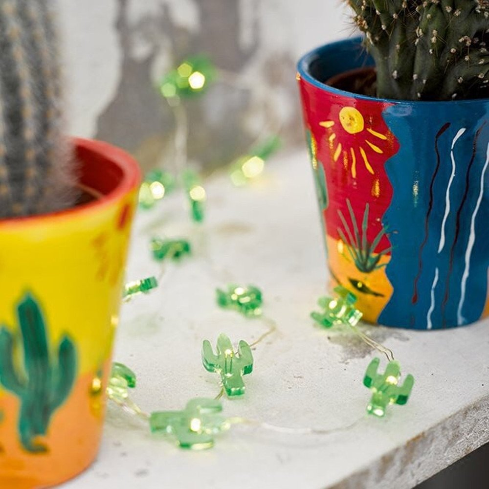 10 ft 30 Lights LED Copper Wire String Lights,Pine nuts /Sunflower/Green Cactus/Pink Rabbit Shape Fairy Lights Decoration Festival Party Home Public Place Deco Light Battery Operate (Green Cactus) by Plymist (Image #1)