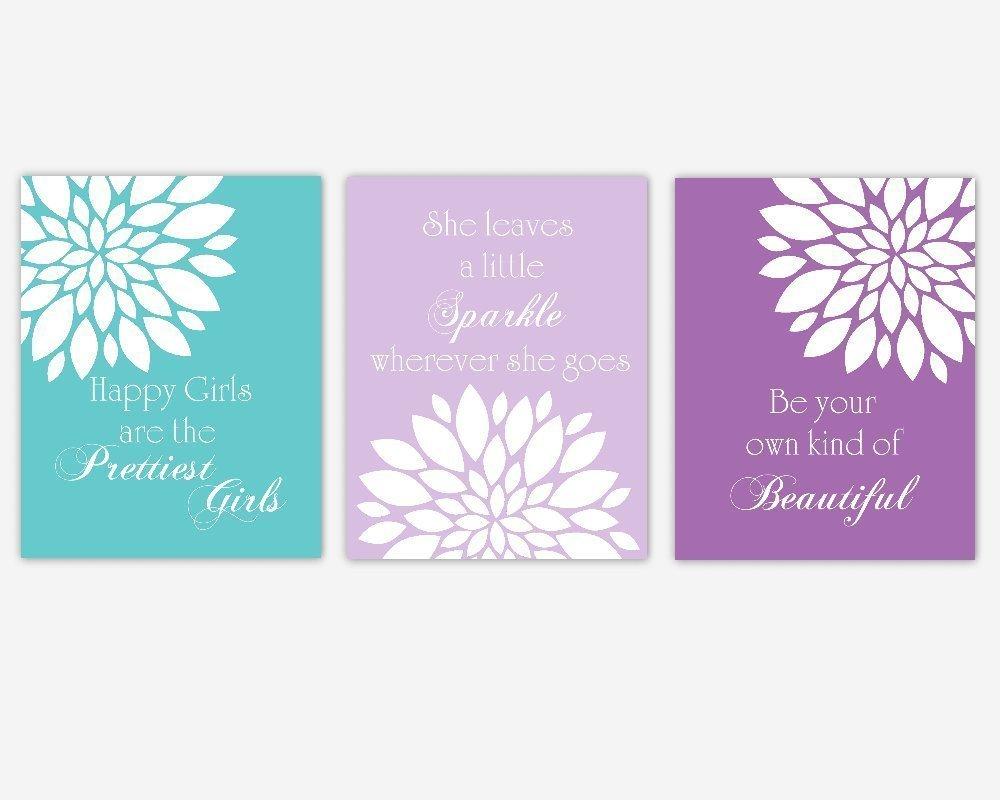 Purple Lavender Teal Aqua Flower Dahlia Mums Floral Prints Girl Bedroom Art Baby Nursery Decor Audrey Hepburn Quotes Beautiful Prettiest Sparkle SET OF 3 UNFRAMED PRINTS