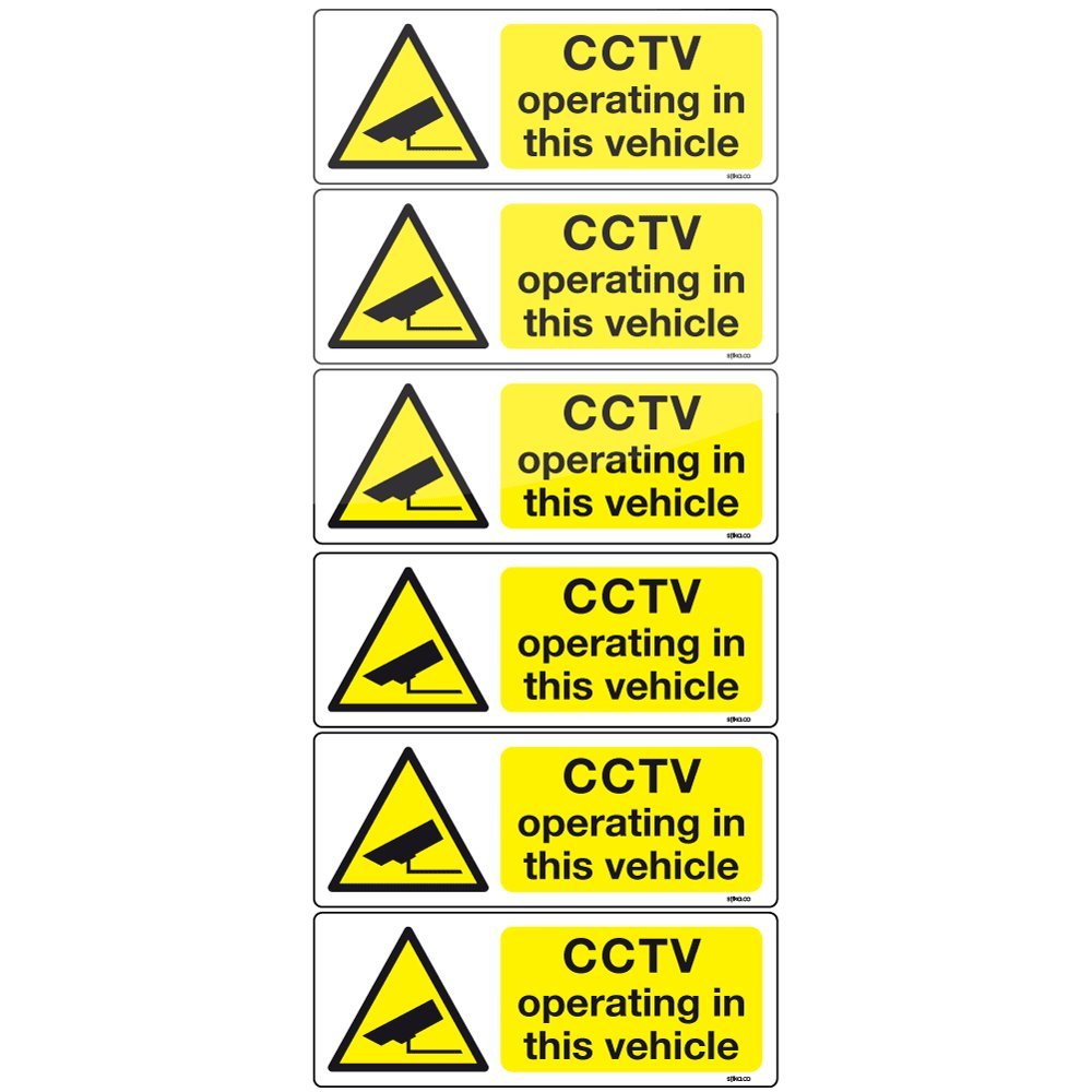 6 CCTV camera in vehicle adhesive vinyl stickers 8x3cm car taxi bus sign decals stika.co CCTV8030