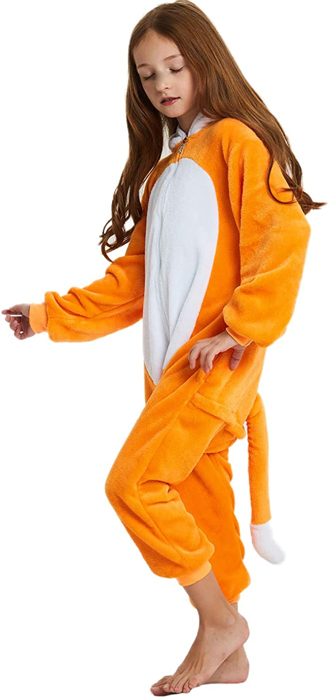 ABENCA Kids Fleece Onesie Pajamas Christmas Halloween Animal Cosplay Sleepwear Costume