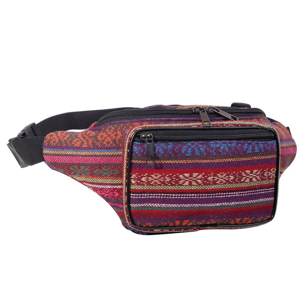 Fanny Pack Stripe 80s Waist Bags, iridescent Woven Tribal Print Waist pack for Travel,Rave Party,Trip,Festival (Woven Cotton Fabric Bohemian Stripe (Blue Horizontal))