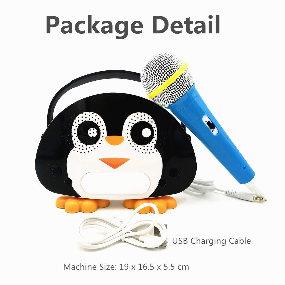 Kids Bluetooth Karaoke Machine with Microphone, Rechargeable Children's Wireless Loudspeaker Portable Cartoon Karaoke Music MP3 Player Toy with Microphone for Party Gift (Black) by OceanEC (Image #4)