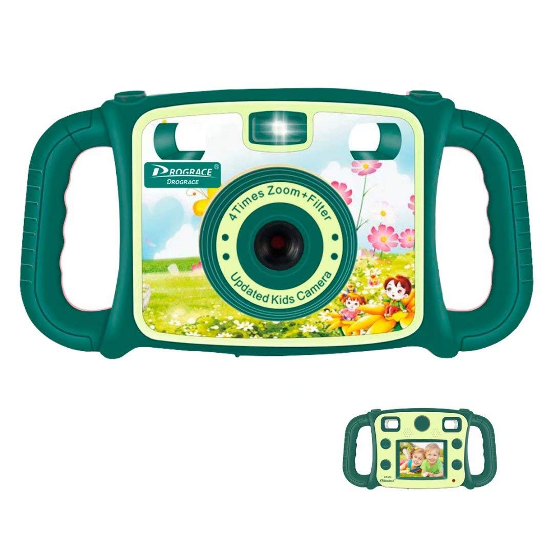 "Prograce Kids Camera Creative Camera 1080P HD Video Recorder Digital Action Camera Camcorder for Boys Girls Gifts 2.0"" LCD Screen with 4X Digital Zoom and Funny Game(Green)"