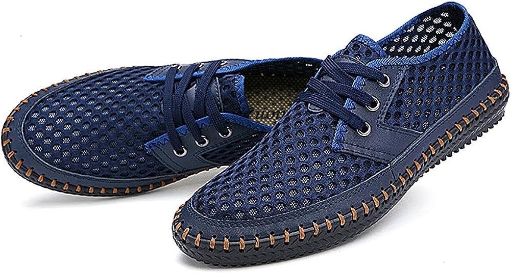Jamron Hombres Respirable Malla Trainers Alpargatas con Cordones Verano Zapatos Deportivos