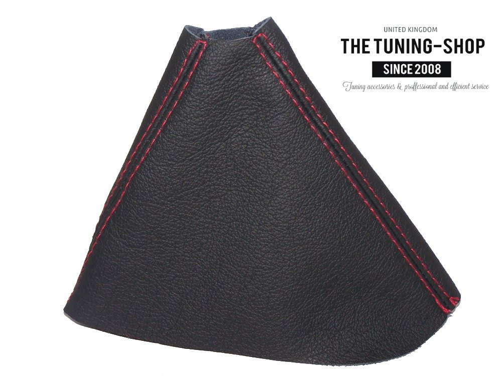 The Tuning-Shop Ltd for Volkswagen B6 B7 2006-2015 DSG Automatic Shift Boot Black Genuine Leather RED Stitching