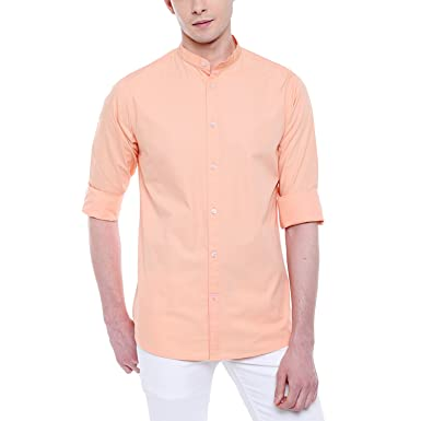 cb4adf9ab Dennis Lingo Men's Solid Chinese Collar Peach Casual Shirt: Amazon.in:  Clothing & Accessories
