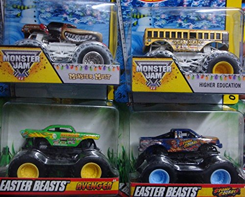 (Monster Jam Detailed Diecast Tour Favorites-Bundle Exlusive Series Snow Covered Wheel Monster Mutt & Higher Education Bus With Easter Beast Avenger With Flames & Stone Crusher with Flames 1/55 Scale)