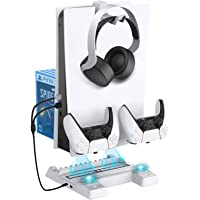 NexiGo Cooling Fans Vertical Stand for PS5 Console, Dual Controllers Type-C Charging Slots with USB Hub, 3 Levels…