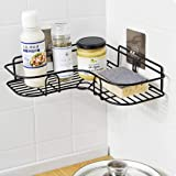 Getko With Device Wall Mounted Shower Storage Corner Shelf Holder Stainless Steel Wall Hanging Shelves for Bathroom and Kitchen (Black)